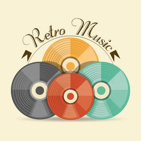 retro cd music media technology, vector illustration Illustration