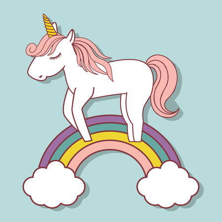 cute unicorn and rainbow icon over blue background. colorful design. vector illustration