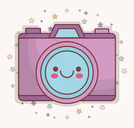 Icona della telecamera kawaii su sfondo bianco. Disegno colorato. Illustrazione vettoriale Vettoriali