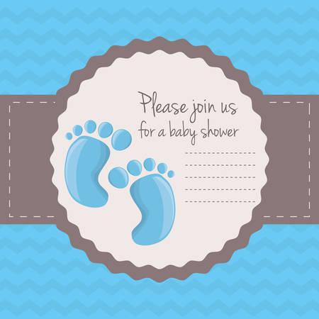 baby shower card happy invitation, vector illustration