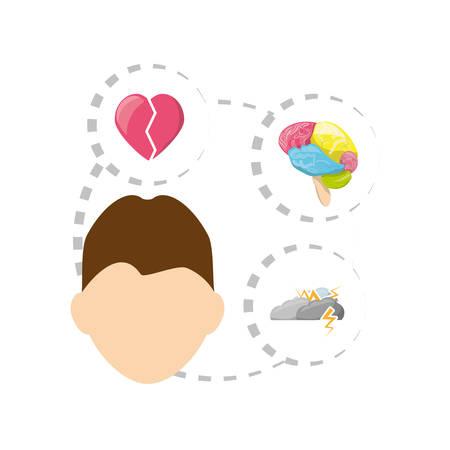 man with heart, brain, cloud thunder icons around, vector illustration Illustration