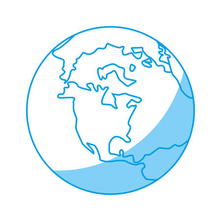 A earth planet icon over white background. vector illustration