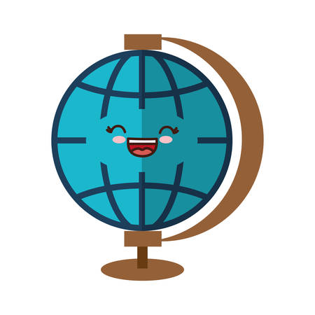 kawaii earth planet icon over white background. vector illustration