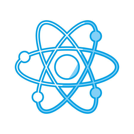 An atom icon over white background. vector illustration