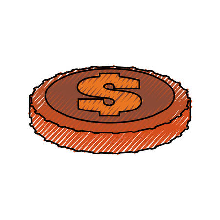 investment concept: Money coin isolated Illustration