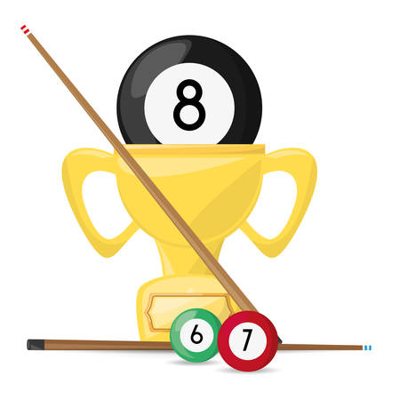 game of pool: nice trophy of pool billiard game, vector illustration Illustration