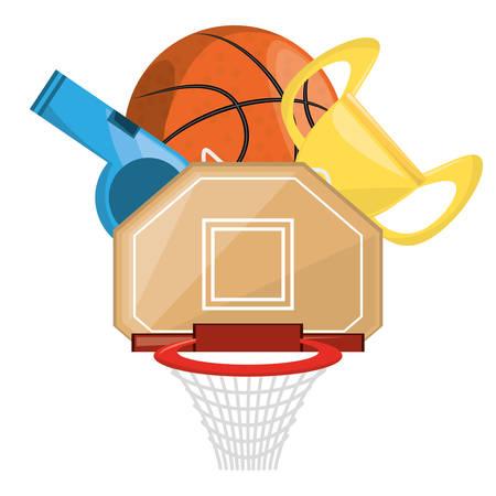 Basketbaltrofee en win het competitiegame, vectorillustratie