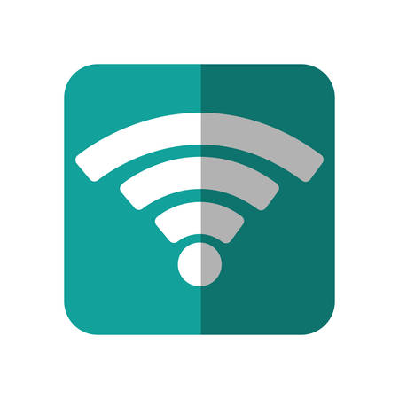 wifi sign icon over turquoise square and white background. vector illustration