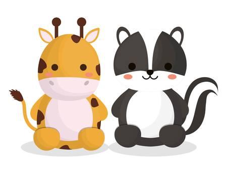 lindo icono de animales jirafa y zorrillo sobre fondo blanco. diseño colorido. ilustración vectorial