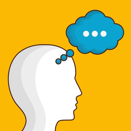 head with speech bubble icon over yellow background. colorful design. vector illustration