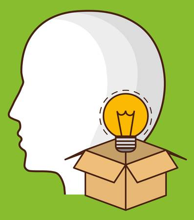 head and box with bulb light icon over green background. colorful design. vector illustration