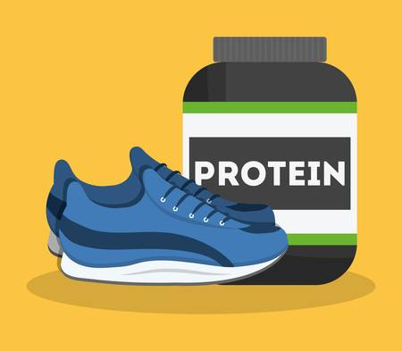 protein bottle and sport shoes icon over yellow background. fitness lifestyle concept. colorful design. vector illustration Çizim
