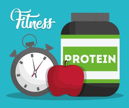 chronometer, apple and protein bottle icon over turquoise background. fitness lifestyle concept. colorful design. vector illustration