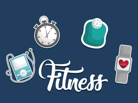 gym equipment: fitness lifestyle related icons. over blue background.  colorful design. vector illustration