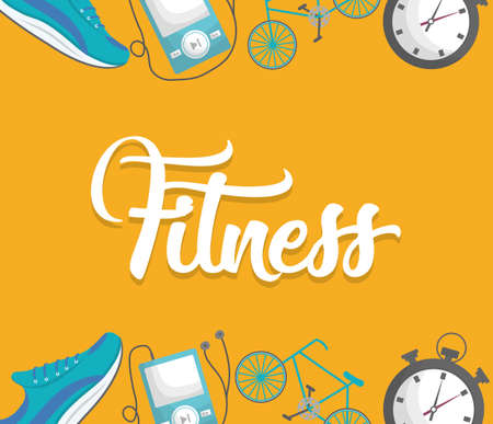 gym equipment: fitness lifestyle related icons. over yellow background.  colorful design. vector illustration