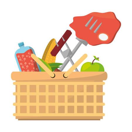 Lebensmittel-Ikonenvektor-Illustrationsgrafikdesign des Picknicks köstliches