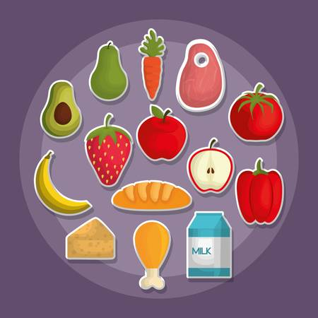 healthy food in circle shape, nutrition related icons over purple background. colorful design. vector illustration