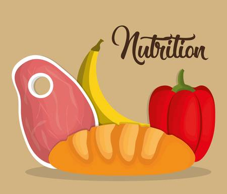 food and vegetables, nutrition related icons over brown background. colorful design. vector illustration Illustration