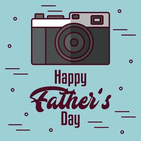 青い背景上のカメラ アイコンで幸せな父の日カード。カラフルなデザイン。ベクトル図