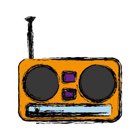 retro radio icon over white background. vector illustration