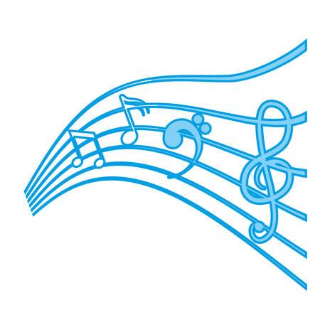 Un pentagrama con el icono de notas musicales sobre fondo blanco. ilustración vectorial Foto de archivo - 77906890