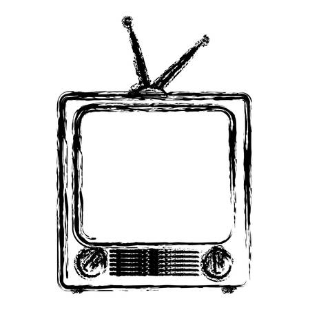 receiver: Retro television with antenna icon over white background. vector illustration Illustration