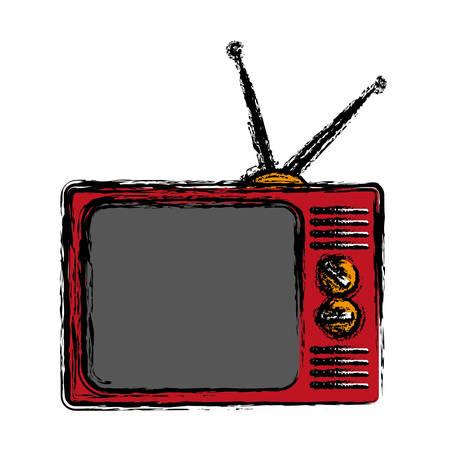 movie film: Retro television with antenna icon over white background. colorful design. vector illustration Illustration