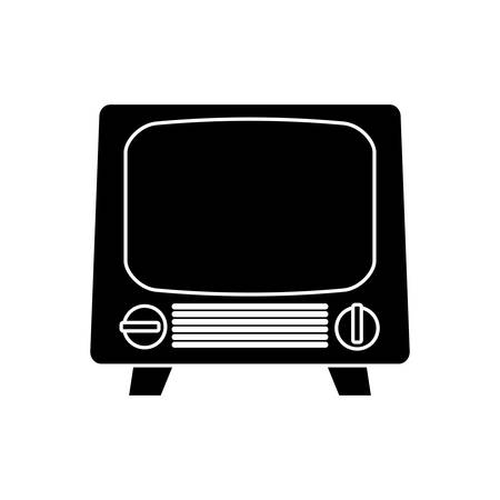 receiver: silhouette of vintage television icon over white background. vector illustration Illustration