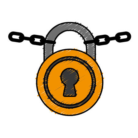 firewall: security padlock icon over white background. colorful design. vector illustration Illustration