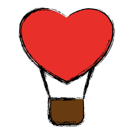 hot air balloon in heart shape icon over white background. colorful design.  vector illustration