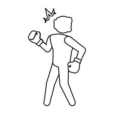 Boxeo figther trainning icono ilustración vectorial diseño gráfico