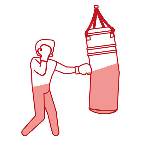 knocking: Boxing figther trainning icon vector illustration graphic design Illustration