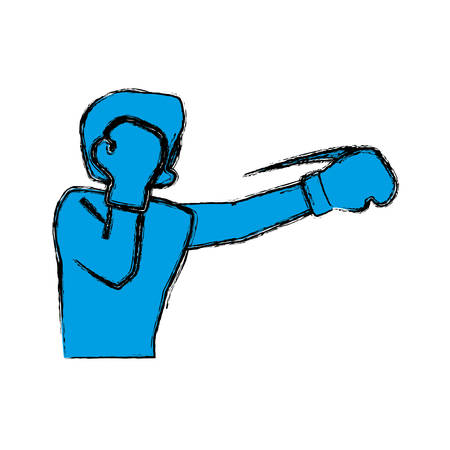 Boxing figther trainning icon vector illustration graphic design Illustration
