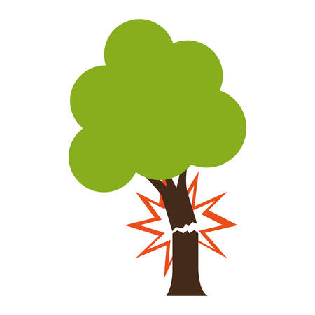 Tree with broken trunk  icon over white background. colorful design. vector illustration