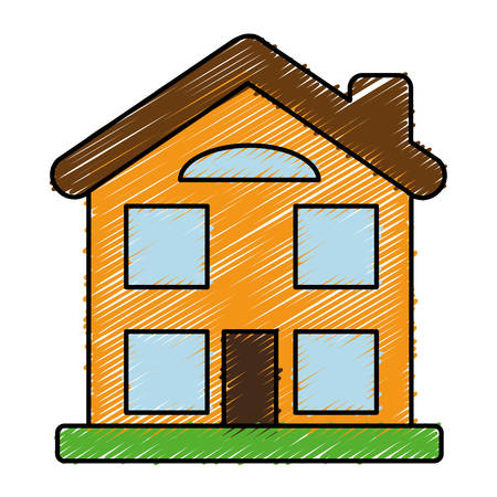 house icon over white background. colorful design. vector illustration Illustration