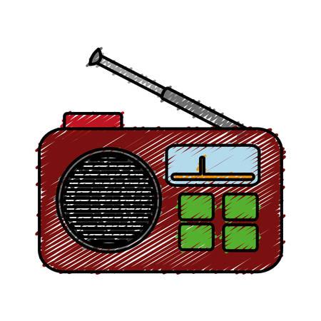 retro radio icon over white background. colorful design. vector illustration Illustration
