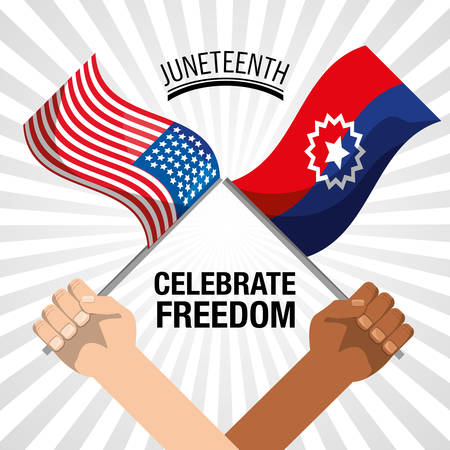 hands with flags to celebrate freedom juneteenth, vector illustration