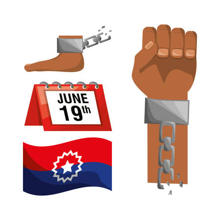 emancipation: chain in the hand and foot with calendar and flag, vector illustration Illustration