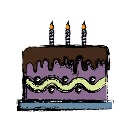 birthday cake with candle icon over white background. vector illustration