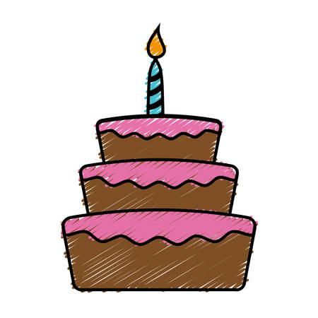 Birthday cake icon over white background. colorful design. vector illustration