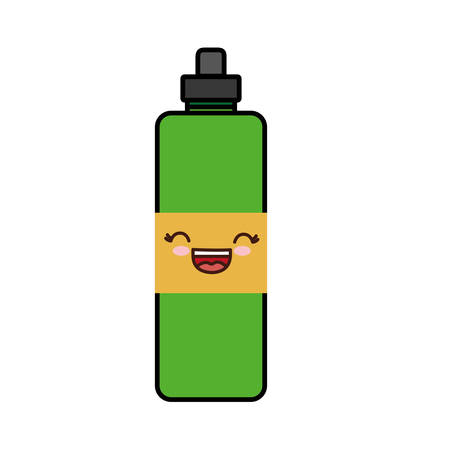 Kawaii water bottle icon over white background. colorful design. vector illustration