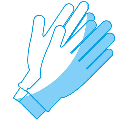 hands qith medical gloves icon over white background. vector illustration