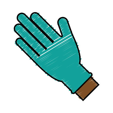 hands with medical gloves icon over white background. vector illustration Illustration