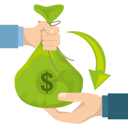 Hands holding money bag with coins and bill, vector illustration