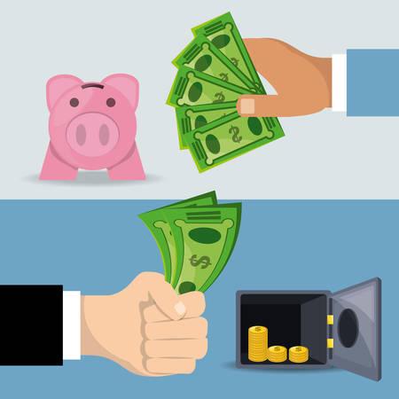 saved: hands holding a lot of bills for saved, vector illustration Illustration