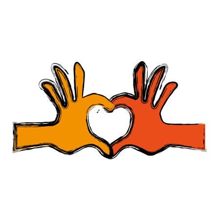 hands heart shape vector icon illustration graphic design Illustration