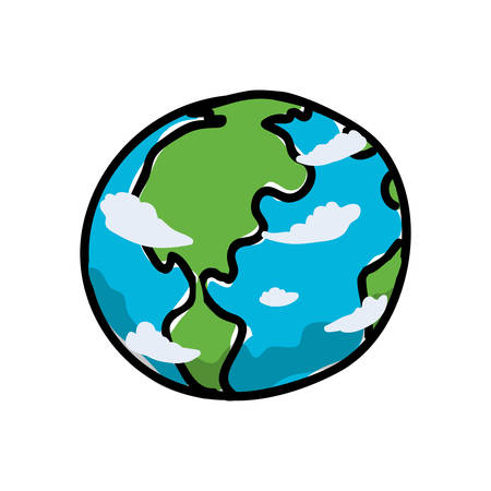 earth planet cartoon vector icon illustration graphic design Illusztráció