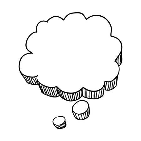 Gedankenblase Gekritzel Vektor-Symbol Illustration Grafikdesign