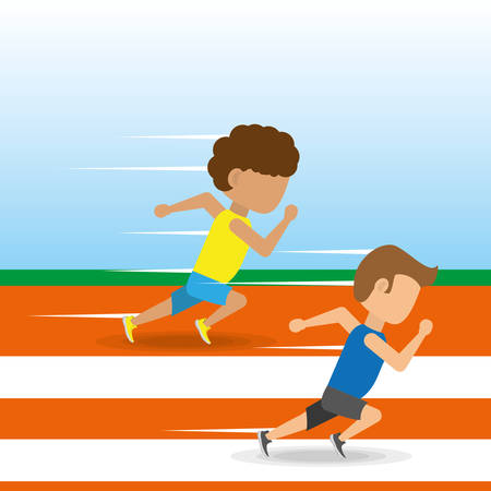 athletes running in competition championship around track, vector illustration