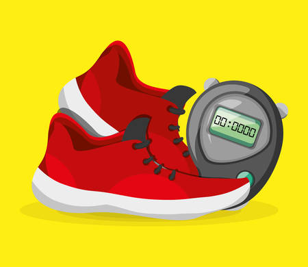 running shoes sport competition concept, vector illustration